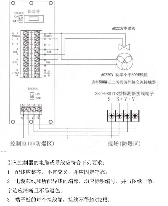 探测器的接线端子v ,v-,s ,s-与控制器v ,v-,s ,s-对于接法,以及如何