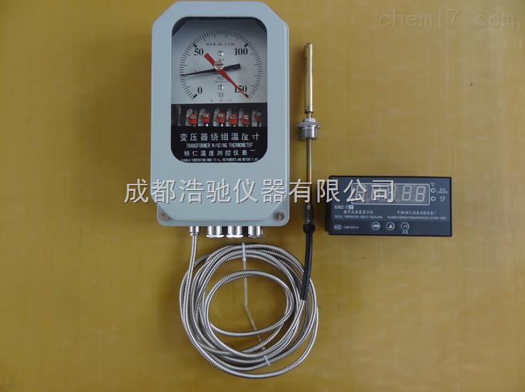 变压器绕组温度计 BWR-06J(TH) 一 型号命名: B W R – 0 6 J (TH) 湿热带防护 机电一体化、输出(4-20)mA电流 开关数量 线性刻度 绕 组 温度计 变压器 二 用途 BWR-06J(TH)变压器绕组温度计是变压器专用仪表。该仪表采用附加温升的原理而设计,该产品具有体积小、功能全、安装方便、操作简单等特点。并且可以输出DC(4-20)mA标准电流信号供计算机系统及二次仪表使用,实现无人电站管理。 三 工作原理 BWR-06J(TH)变压器绕组温度计,主要由弹性元