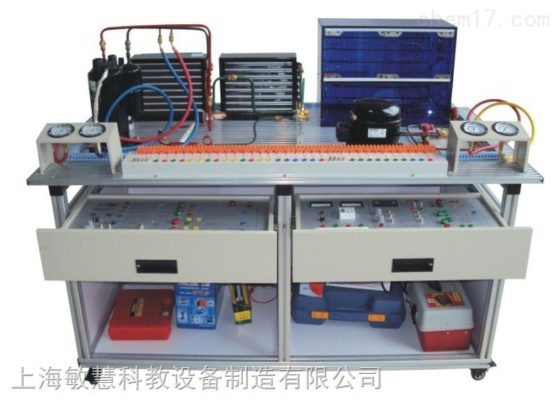 系统由两部分组成,分别为:分体式热泵空调和直冷电冰箱,分体空调可进行制冷、制热、除湿、自动工作模式功能,直冷式电冰箱可进行冷藏、冷冻等功能,涵盖了制冷专业中所涉及的安装、管路设计焊接技术、接线、保压、检漏、抽真空、充注制冷剂、制冷剂回收、运行调试,控制电路故障考核等 装置应适合机电、动力工程类专业的实训,适合制冷及相关专业的中级、高级工的技能鉴定及考核。 功能: 1.