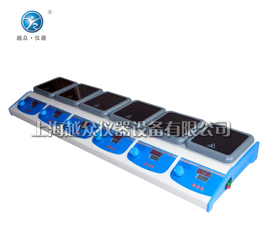 多联智能数显电加热板、电加热板、电加热板【2联,4联,6联】 数显恒温多联加热板,内置智能PID控制线路使温度控制更加准确,操作更加方便;内、外感温探头 可测加热板温度也可转换测量溶液温度;控温精度:±1。 1.独家采用方形黑晶陶瓷加热面加热,美观防腐。   2.独特的加热方式(已申请专利),表面最高温度可达到350。   3.