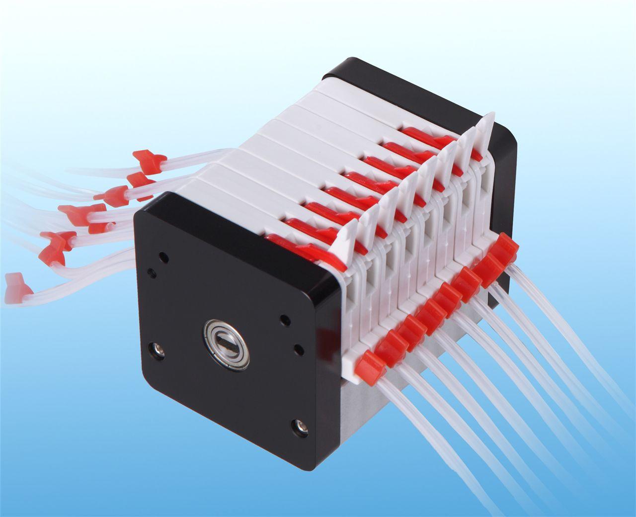 MC4X系列泵头用于微小流量、高精度、多通道液体传输。内置4个滚轮,按通道数目可分为1-6、8、12通道,并且可以通过泵头串联组合成任意通道数目。(纳通MC8X系列泵头内置8个滚轮,属于高精密传输类泵头,详情请查看MC8X系列产品介绍) MC4X系列泵头以其独特的优势(全轴承设计),广泛用于各种分析仪器配套、实验室研发、制药、化工行业、食品行业、油漆涂料行业、医药行业、水处理行业、石油行业、造纸行业、采矿、冶金行业、陶瓷行业等。