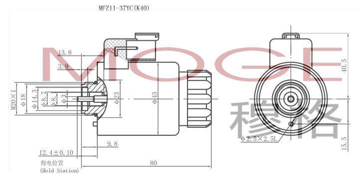 电磁铁  mfz11-37yc(k40)   本系列电磁铁适用于单相桥式全波整流电源