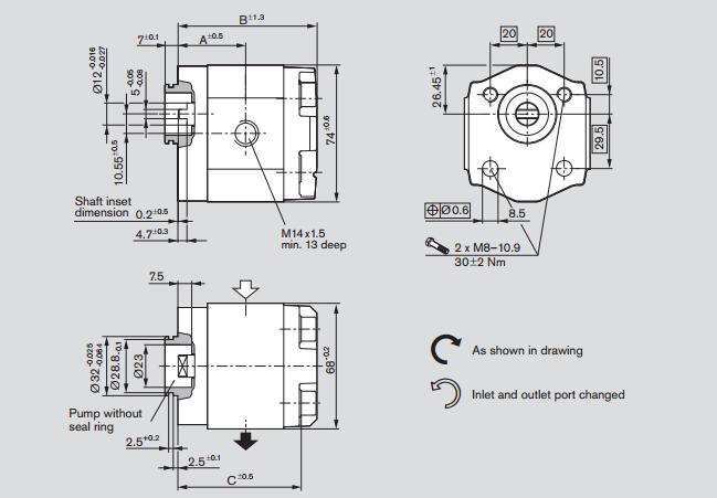 rexroth力士乐柱塞泵azpb型齿轮齿尖的径向间隙是