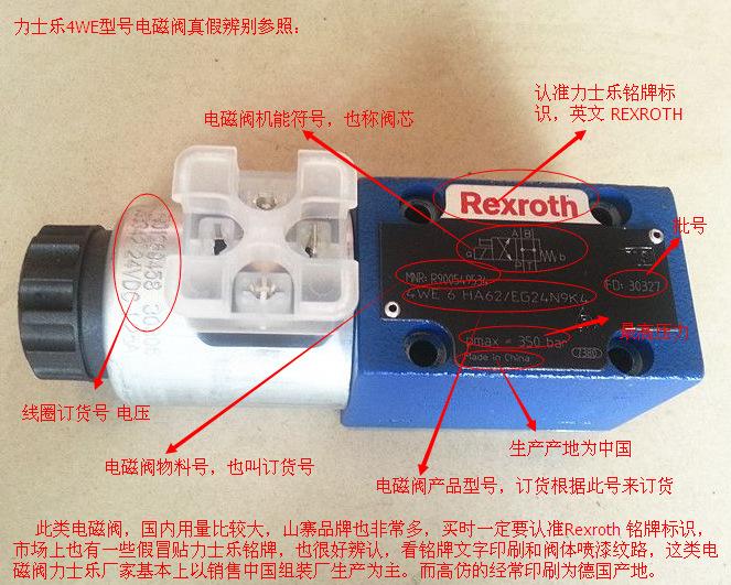 一,rexroth/力士乐电磁阀 单头线圈电磁阀 二位四通电磁换向阀铭牌图片