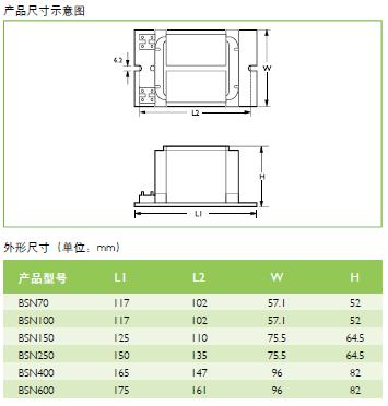 bsn250 飞利浦钠灯电感镇流器  bsn70l300its过热保护型高压钠灯